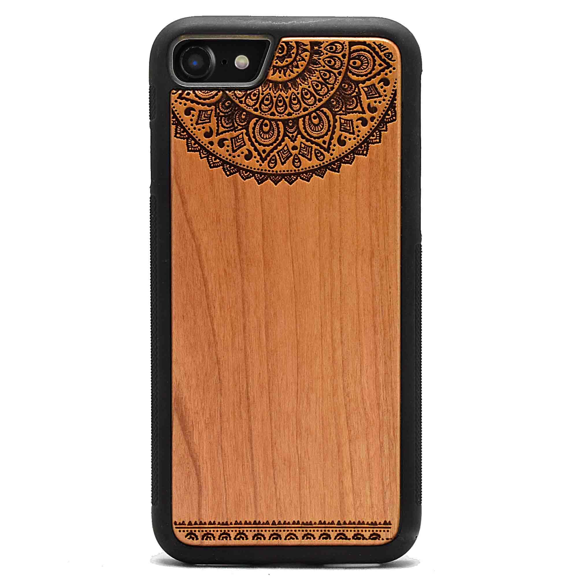 coque bois iphone gravure dentelle mandala apdran