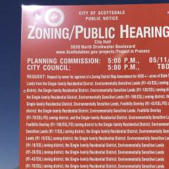 Scottsdale's Scenic Drive and Public Notice for Zoning Case 19-ZN-2014