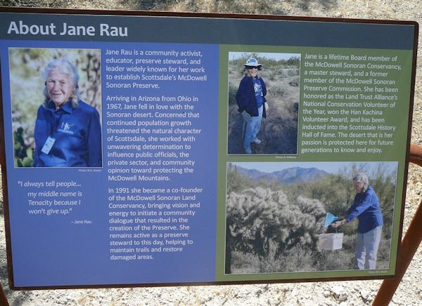 This sign posted beside the trail provides information about the trail's namesake.