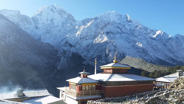 Monastery in Pangboche Beneath Kantega and Thamserku Peaks