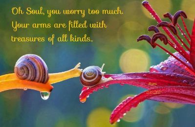 Oh Soul, you worry too much. Your arms are filled with treasures of all kinds. ~Rumi