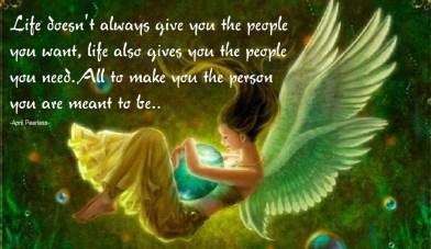 Life doesn't always give you the people you want, life also gives you the people you need. There will be people that love you, dislike you, hurt you, help you, leave you,stay with you, all to make you the person that you are meant to be.. ~April Peerless