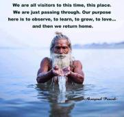 We are all visitors to this time, this place. We are just passing through. Our purpose here is to observe, to learn, to grow, to love and then we return home. ~Australian Aboriginal Proverb