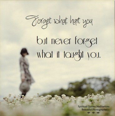 Forget what hurt you but never forget what it taught you