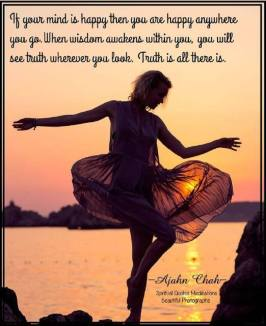 If your mind is happy then you are happy anywhere you go. When wisdom awakens within you, you will see Truth wherever you look. Truth is all there is. It's like when you learned how to read, you can then read anywhere you go.. ~Ajahn Chah