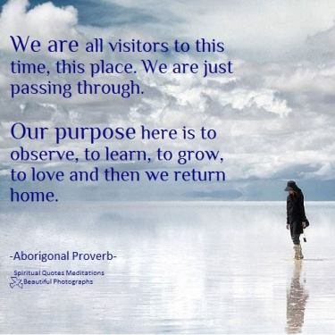 We are all visitors to this time, this place. We are just passing through. Our purpose here is to observe, to learn, to grow, to love and then we return home. Aborigonal Proverb