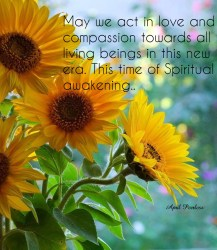 May we act in love and compassion towards all living beings in this new era. This time of Spiritual awakening.. ~April Peerless