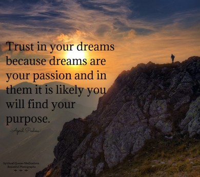 Trust in your dreams because dreams are your passion and in them it is likely you will find your purpose.