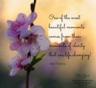 One of the most beautiful moments comes from those moments of clarity that are life changing! A.Peerless
