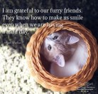 I am grateful to our furry friends, they know how to make us smile even when we are having a hard day. April Peerless
