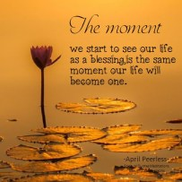 The moment we start to see our life as a blessing, is the same moment our life will become one. A.Peerless