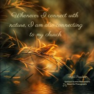 Whenever I connect with nature, I am also connecting with my church. A.Peerless
