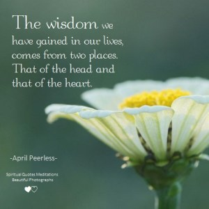 The wisdom we have gained in our lives, comes from two places.That of the head and that of the heart. April Peerless