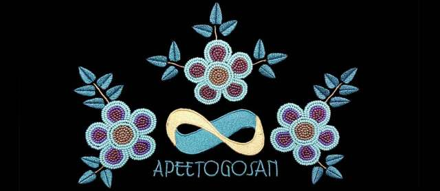 Apeetogosan with Beaded Flowers on a black background.