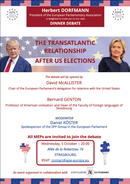 Wednesday, 5 October 2016 - Dinner Debate: The Transatlantic Relationship after US elections