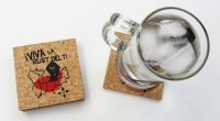 'Viva La Rust Belt!' in Red and Black on Natural 4'' x 4'' Cork Coasters (Installed)