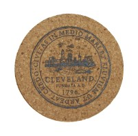'City Seal' in Shimmer Black on Round Cork Coaster