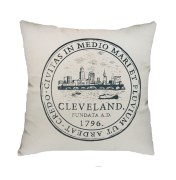'City Seal' in Shimmer Grey on Natural Canvas Pillow