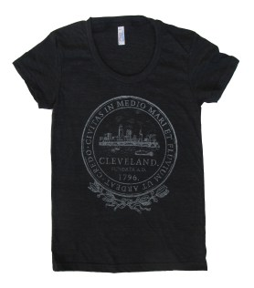 'City Seal' in Shimmer White on Ladies Tri-Black American Apparel Tee