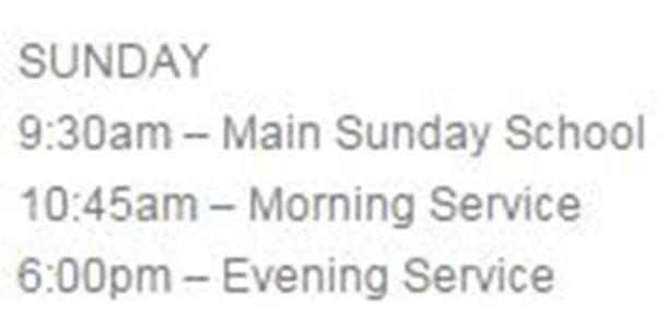 Sunday evening service post