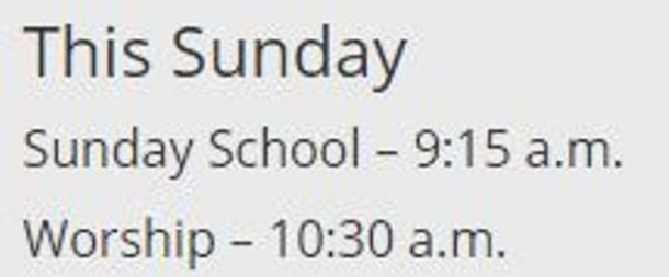 Sunday schedule post