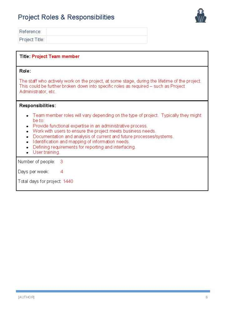 Project Roles and Responsibilities Template - APE Project Management