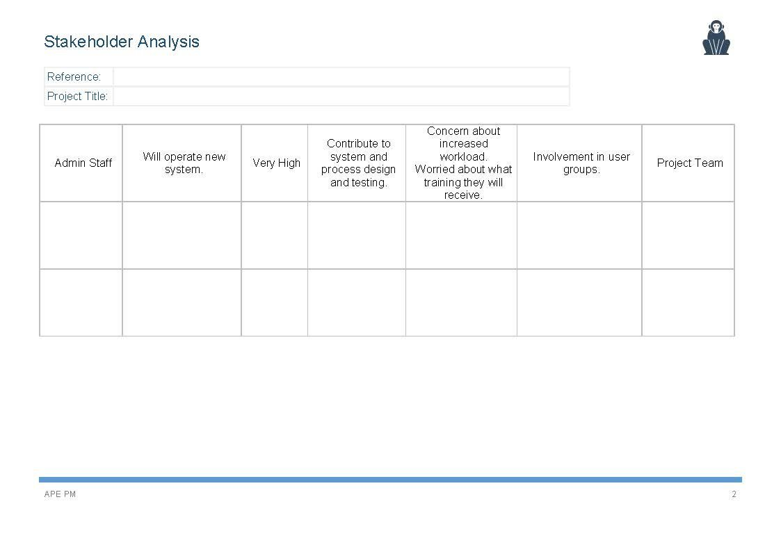 Stakeholder Analysis Template - APE Project Management