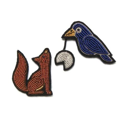 Macon&Lesquoy, broche brodée le corbeau et le renard