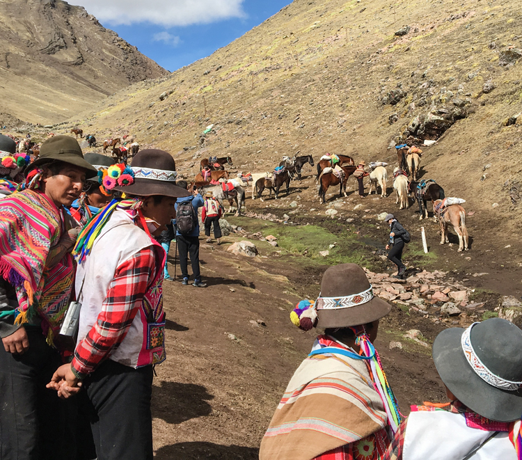 Quechuan horse guides near Rainbow Mountain, Peru