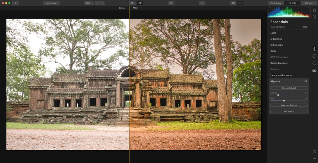 Luminar 4 editing module screenshot
