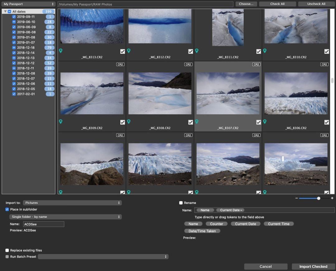 ACDSee Photo Studio screenshot importing images
