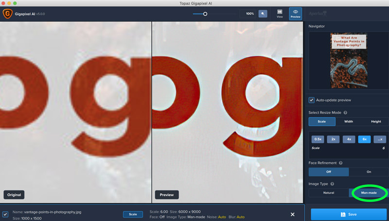 screenshot gigapixel ai version 5 update man-made mode