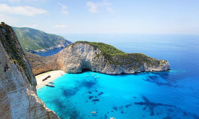 bay with blue water in Greece