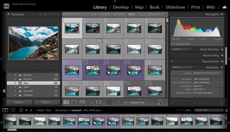 Lightroom Classic photo filing in library module