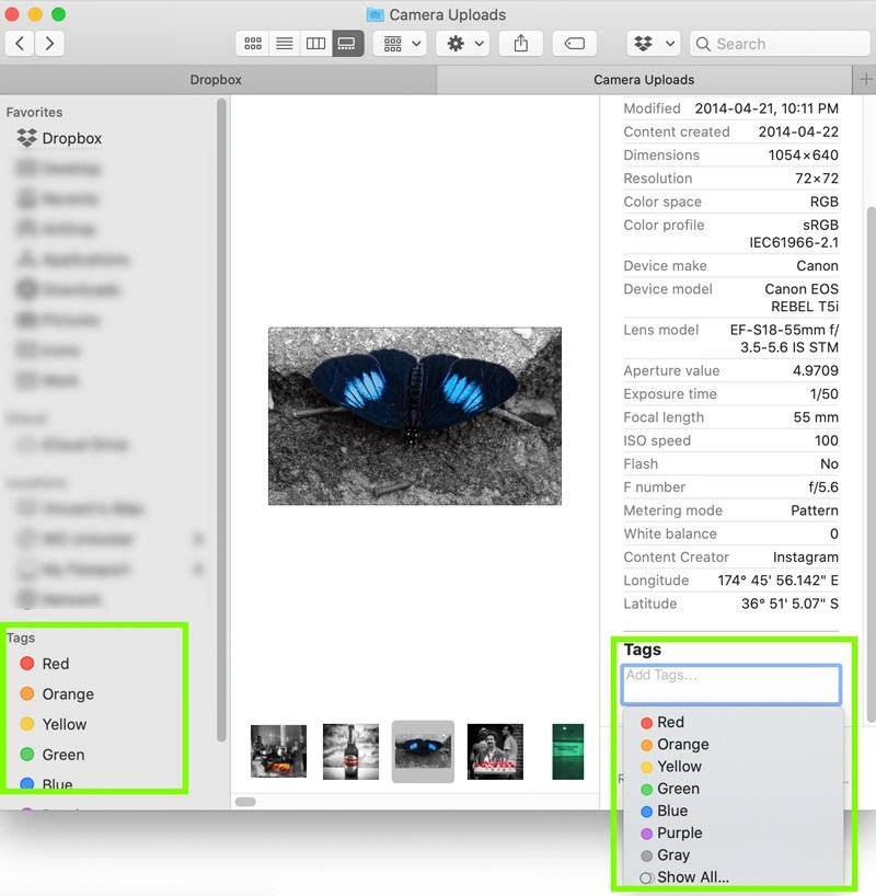 Mac Finder filing pictures with color tags