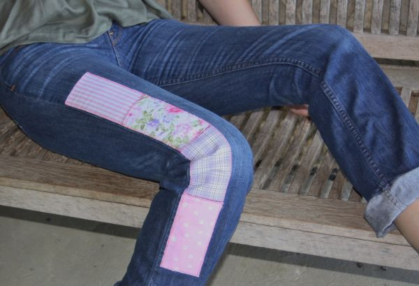 customised jeans patched pink side stripes