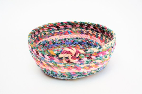 multi coloured recycled fabric basket bowl