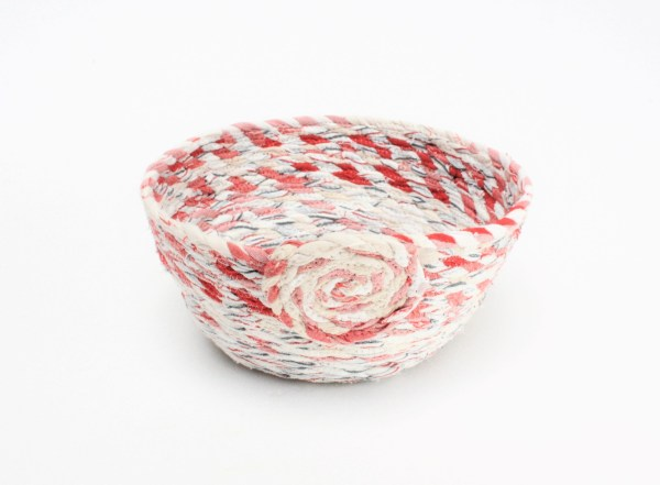 Red and white recycled fabric basket bowlbasket bowl