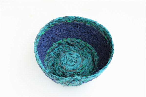 blue and green recycled fabric basket bowl