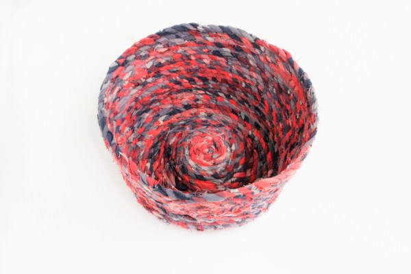 red and grey recycled fabric basket bowl
