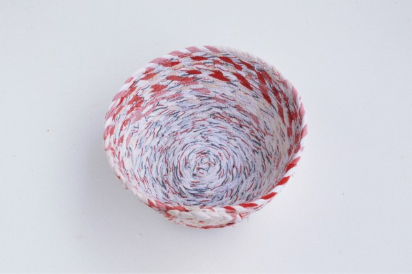 Red and white recycled fabric basket bowl
