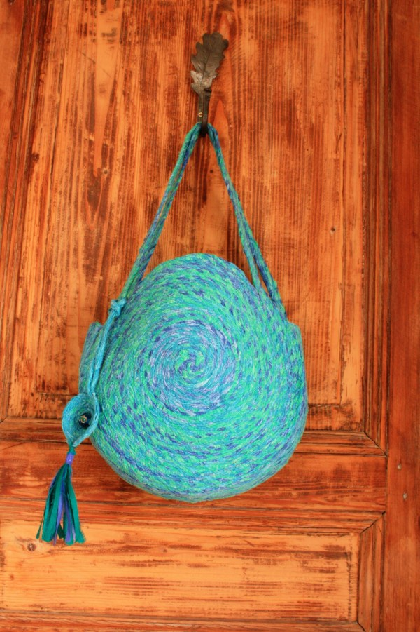 blue green recycled fabric bag