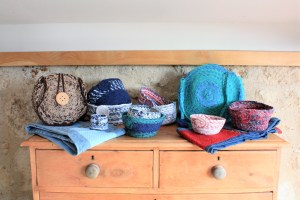 fabric baskets and bags display