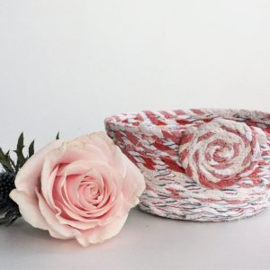red white upcycled fabric basket bowl