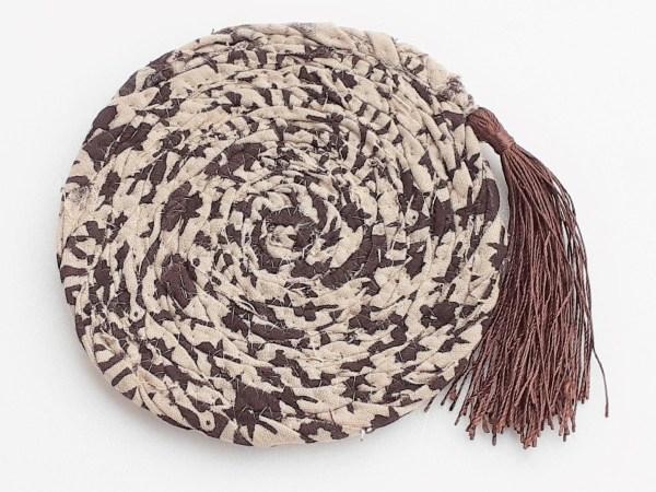 brown fabric coaster drinks mat