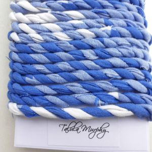 blue white scrap fabric craft string
