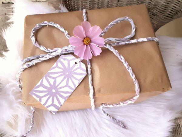 mauve gift wrap twine and tags