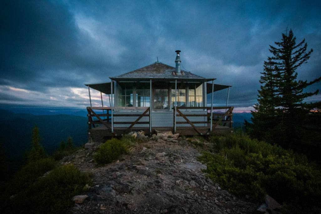 Gold Butte Lookout Tower at Night