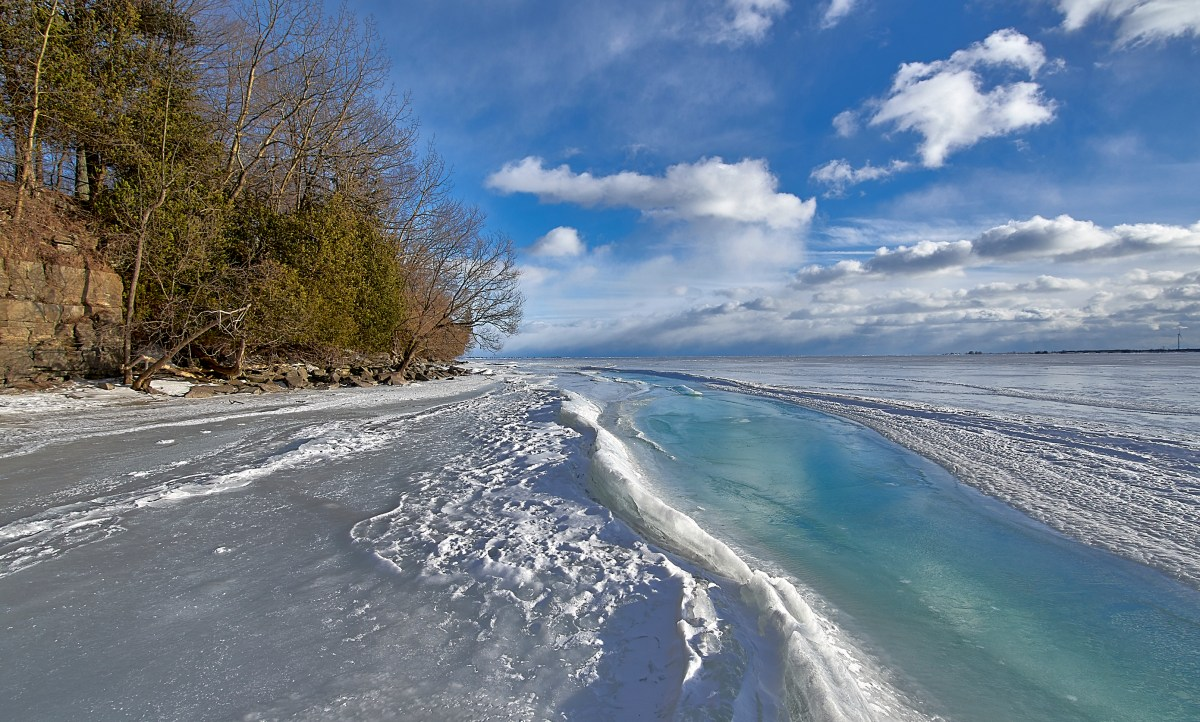 A river within a frozen lake!