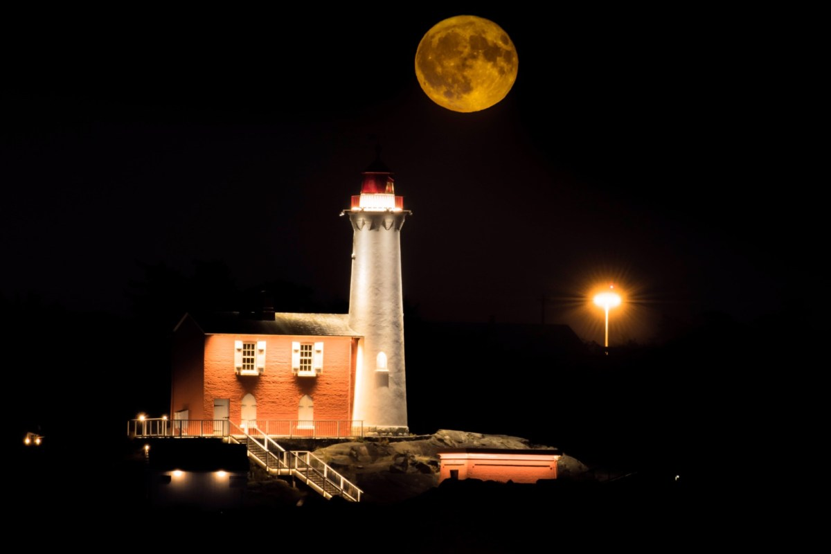 Harvest Moon over Fisgard Lighthouse